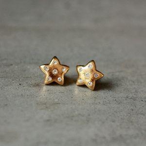 golden star stud earrings